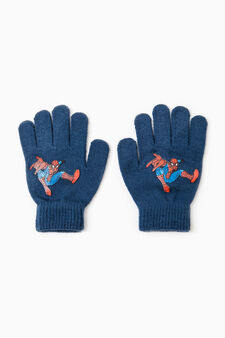 Solid colour gloves with Superman print, Blue, hi-res