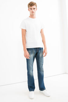 Worn-effect, comfort-fit jeans, Dark Wash, hi-res