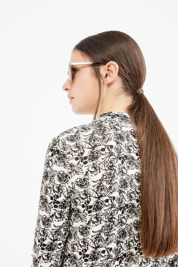 Floral stretch viscose T-shirt, Cream White, hi-res