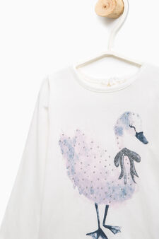 T-shirt with diamanté and glitter print, Milky White, hi-res