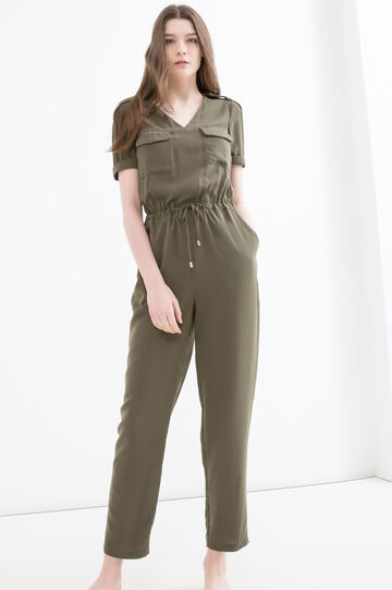 Solid colour jumpsuit with drawstring, Green, hi-res