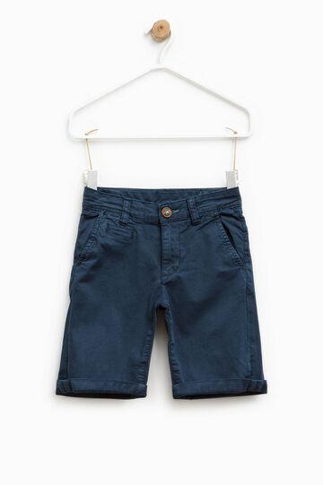 Stretch cotton chino Bermuda shorts, Blue, hi-res