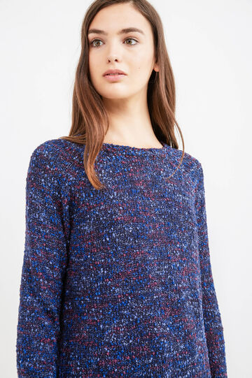 Long pullover with boat neck, Dark Blue, hi-res