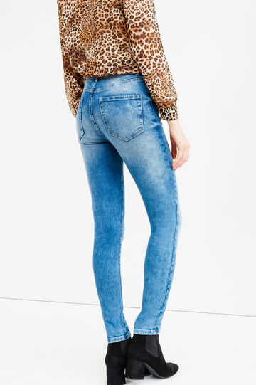 Skinny-fit stretch jeans with abrasions, Medium Wash, hi-res