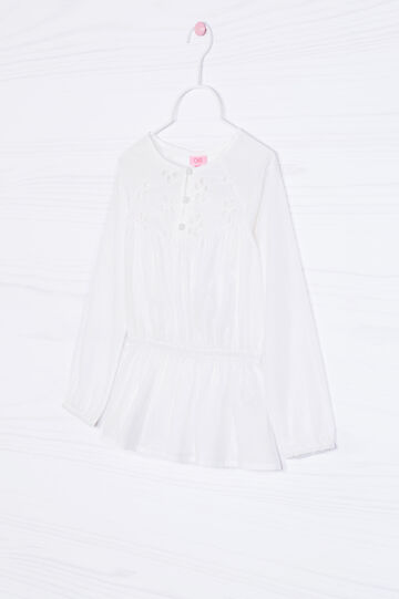 Openwork shirt in cotton blend, Milky White, hi-res