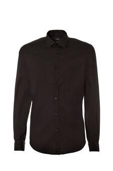 Custom-fit, stretch poplin shirt, Black, hi-res