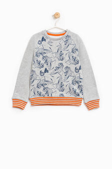 100% cotton sweatshirt with lorry print, Grey Marl, hi-res