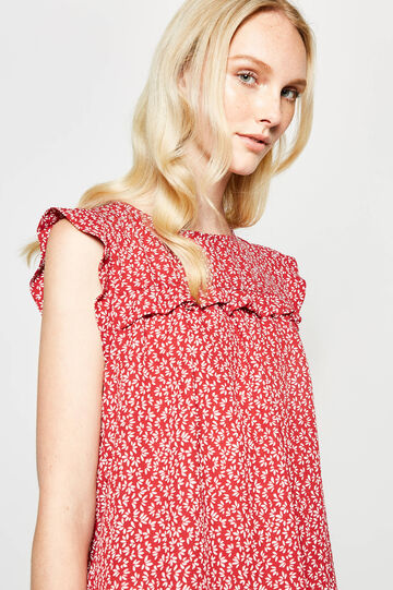 Patterned blouse with flounces, Coral Pink, hi-res