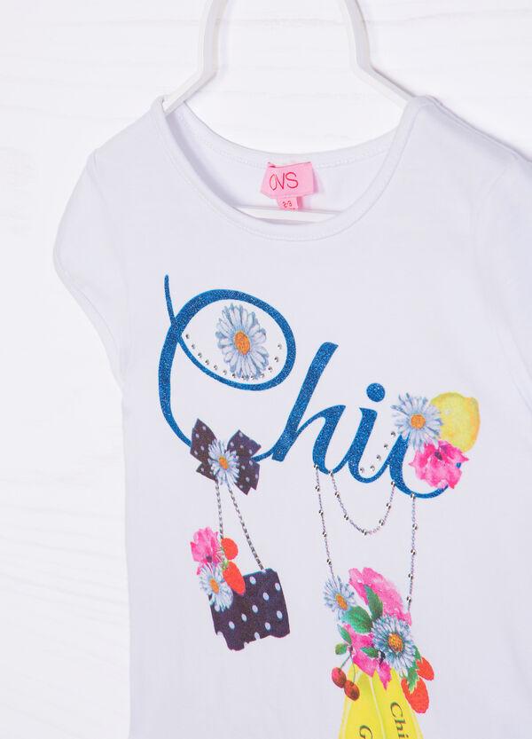 T-shirt stretch stampa e glitter | OVS