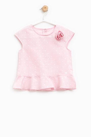 Polka dot linen and cotton shirt