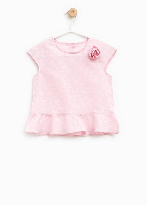 Polka dot linen and cotton shirt | OVS