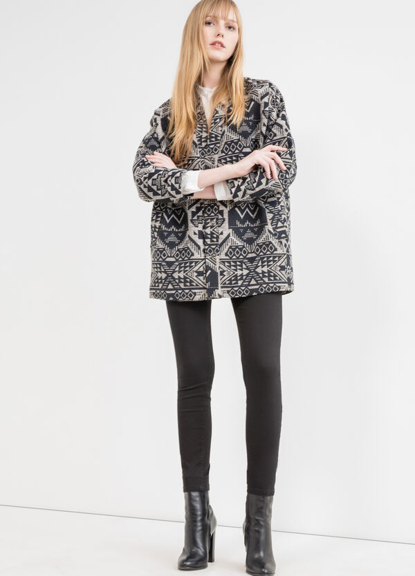Cotton blend parka with ethnic pattern | OVS