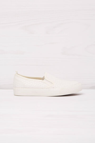 Solid colour slip-ons with woven motif