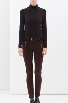 Pantaloni cotone stretch con zip, Marrone cioccolato, hi-res