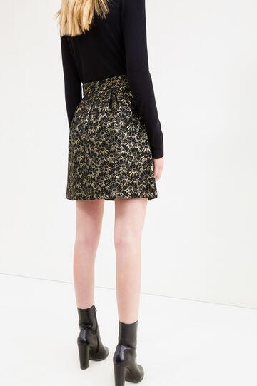 High-waisted flower skirt with lurex, Black, hi-res