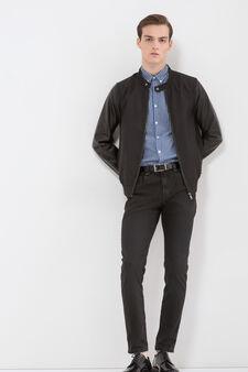 Cotton blend check shirt, White/Blue, hi-res