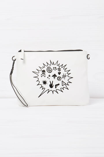 Printed clutch, White, hi-res