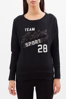 T-shirt sportiva con paillettes, Nero, hi-res