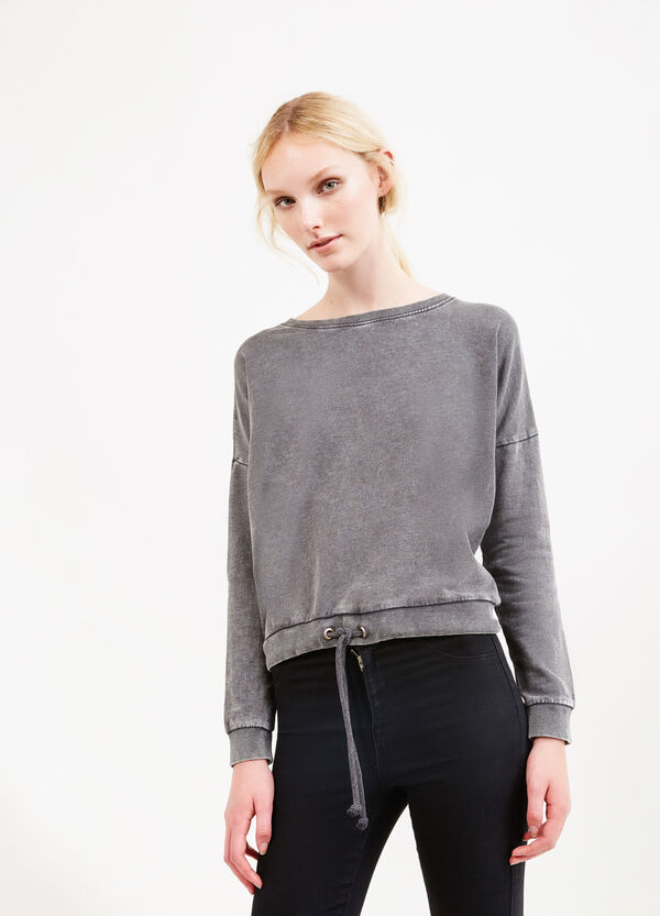 Cropped sweatshirt in 100% cotton with drawstring. | OVS