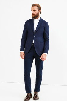 Wool blend Rumford jacket with lapels, Blue, hi-res