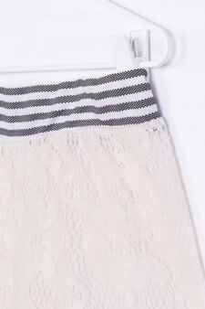 Striped pattern shorts in 100% cotton, White/Black, hi-res