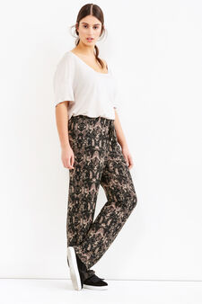 Curvy trousers with pattern in contrasting colour, Multicolour, hi-res