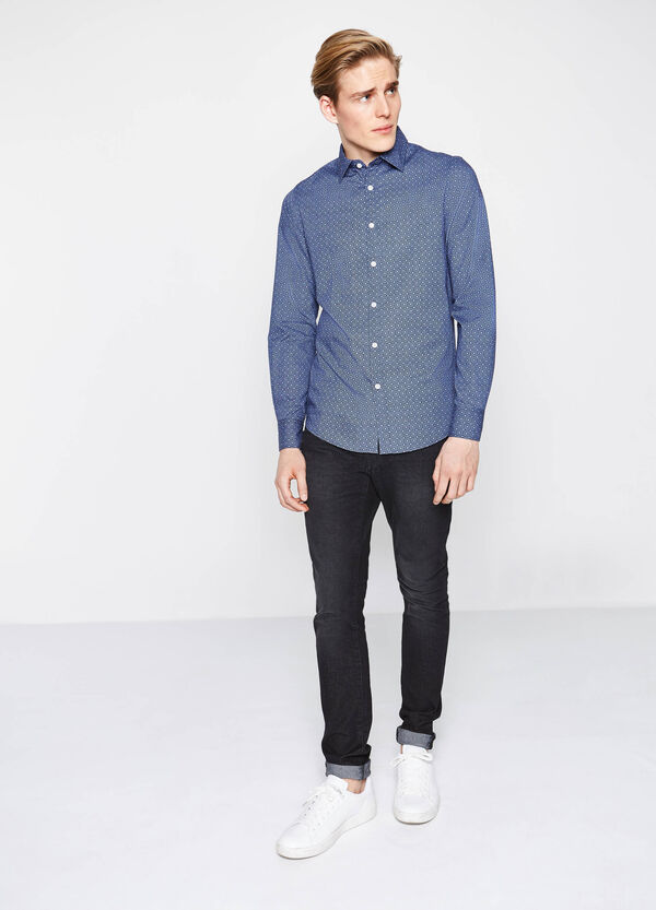 Slim-fit casual shirt with floral print | OVS