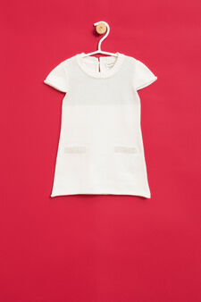 Cotton and wool glitter dress, Milky White, hi-res