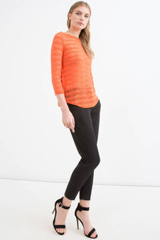 Pullover stretch fantasia a righe, Arancione, hi-res