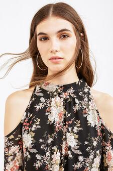 Long-sleeved dress with floral print, Black, hi-res