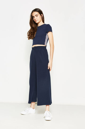 Teen ribbed palazzo trousers, Blue, hi-res