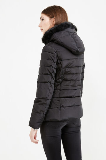 Down jacket with hood and fur, Black, hi-res
