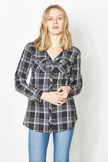 Checked shirt with hood