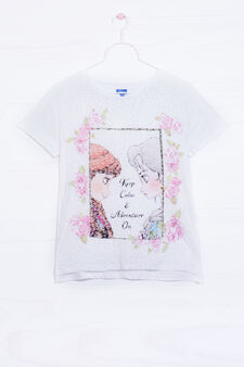 T-shirt misto cotone stampa Frozen, Bianco, hi-res