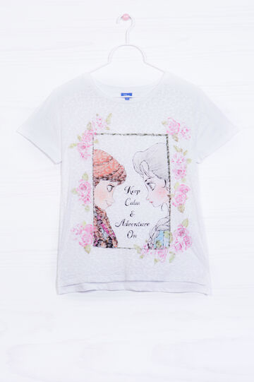 Cotton blend T-shirt with Frozen print, White, hi-res
