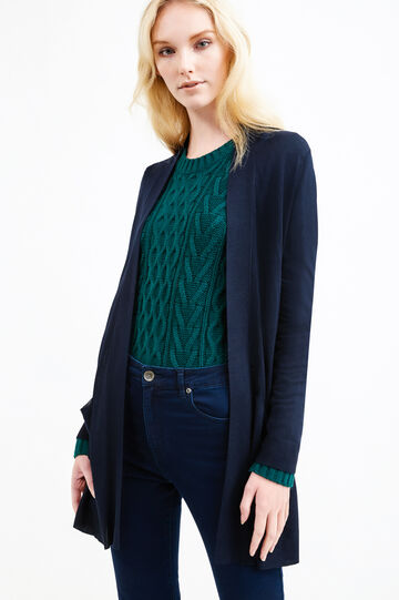 Cardigan pura viscosa con spacchi, Blu navy, hi-res