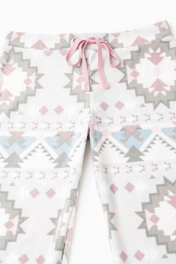 Printed fleece pyjama trousers, White, hi-res