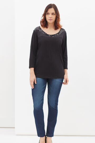 Curvy sequinned T-shirt, Black, hi-res