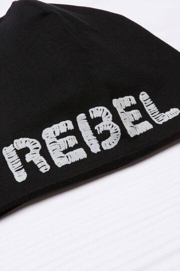 Cappello a cuffia ricamo lettering, Nero, hi-res