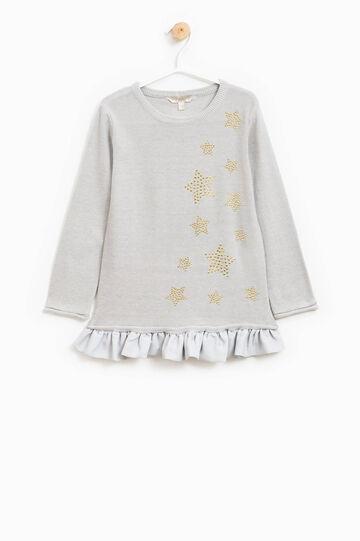 Pullover tricot con strass e volants, Grigio melange, hi-res