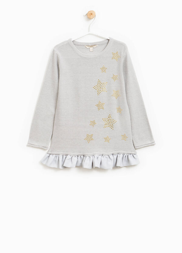Knit pullover with diamantés and flounces | OVS