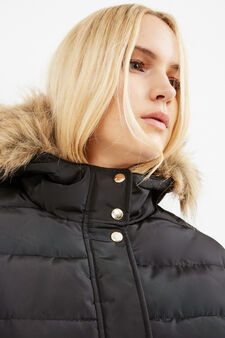 Curvy jacket with hood and faux fur, Black, hi-res