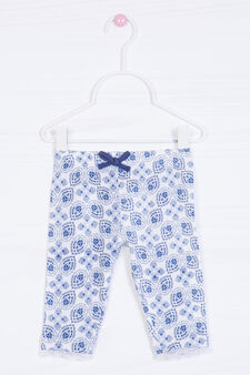 Stretch patterned trousers, White/Blue, hi-res
