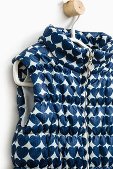 Quilted waistcoat with high collar, Blue, hi-res