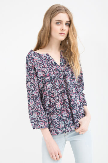 Patterned blouse in 100% cotton, Blue, hi-res