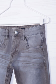 Jeans stretch effetto used, Grigio, hi-res