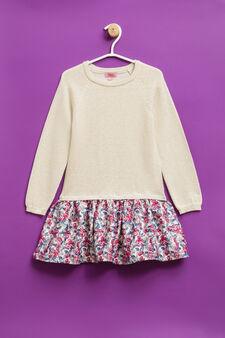 Cotton dress with floral pattern, Beige, hi-res