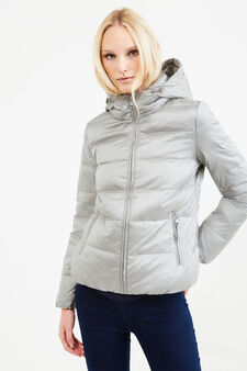 Down jacket with double pocket, Grey/Silver, hi-res