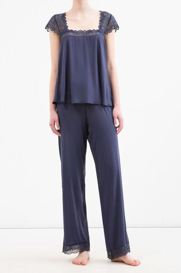 Pyjama top in 100% viscose and lace, Denim Blue, hi-res