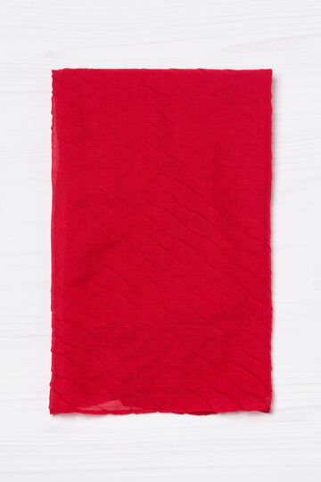 Solid colour pleated scarf, Red, hi-res